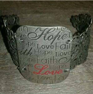 Amazing Silver FAITH, HOPE, & LOVE Cuff ~ Handmade